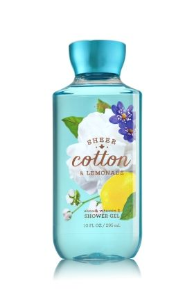 Sheer Cotton & Lemonade - Shower Gel - Signature Collection - Bath & Body Works - Wash your way to softer, cleaner skin with a rich, bubbly lather bursting with fragrance. Moisturizing Aloe and Vitamin E combine with skin-loving Shea Butter in our most irresistible, beautifully fragranced formula!