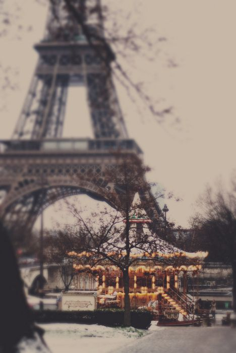 Eiffel tower and carousel in Paris france