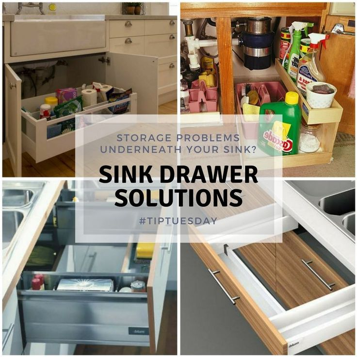 Tip Tuesday - Sink storage Solutions Instead of foraging for bin liners, plastic bags, washing up liquid and hoards of cleaning products all jammed into a deep, dark space – with the one item you need always hiding away in the back corner – try an under-sink drawer option