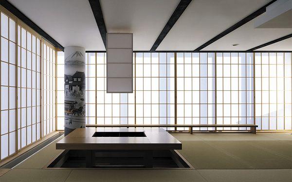 千里中央の家 高層マンションの一室をデザインリフォーム 畳の広い居間