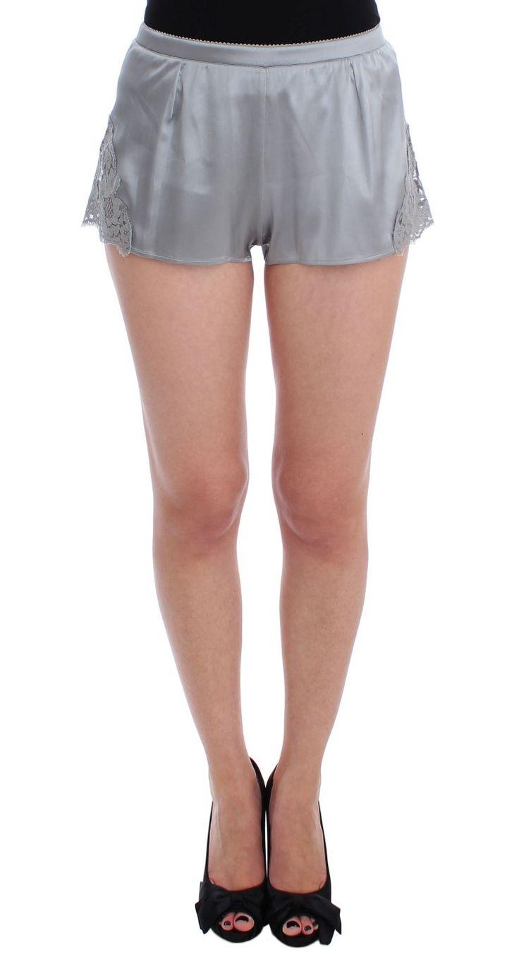 Dolce & Gabbana Silver Silk Stretch Lace Lingerie Mini Shorts