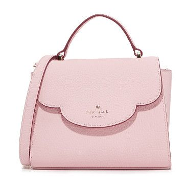 Mini Makayla Top Handle Satchel by Kate Spade New York. A pebbled leather Kate Spade New York satchel with a scalloped flap fastened by a concealed push lock clasp. Lined, 2...
