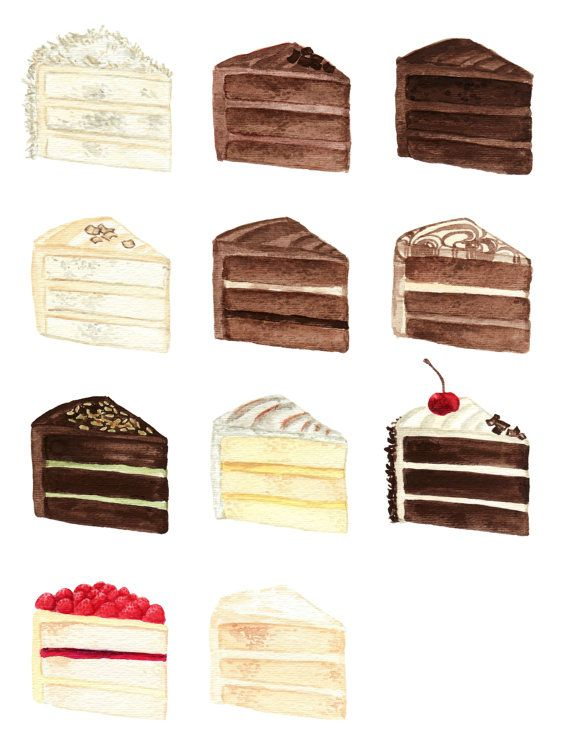 OOO...Laduree! NYC here I come! Cake Slice Flavors Menu Watercolor Chart by SpunSugarPaperie