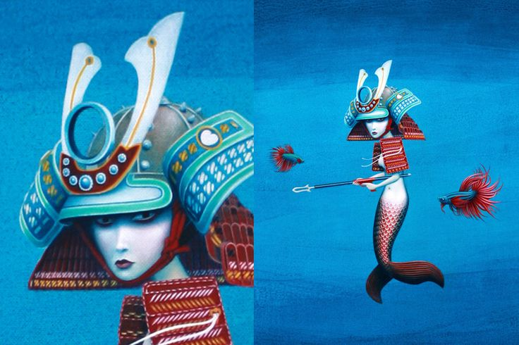 Samurai Mermaid. Portfolio of Graham Bliss - Artist and Graphic Designer Brisbane
