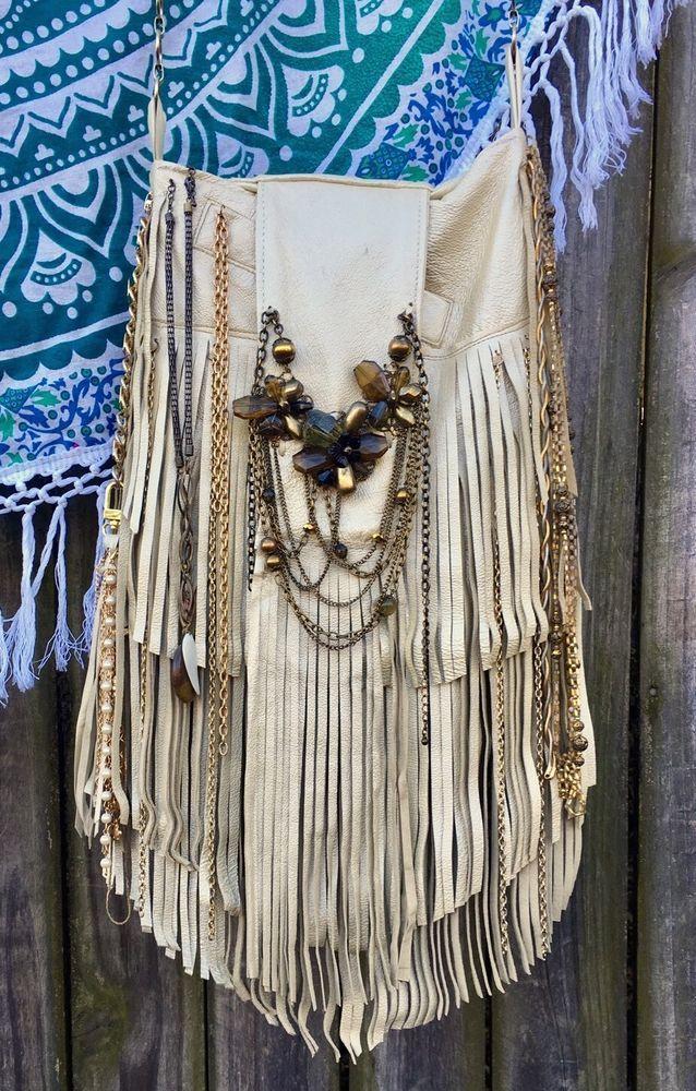 Handmade Metallic Pearl Leather Fringe Bag Gypsy Boho Hippie OOAK Purse B.Joy | Clothing, Shoes & Accessories, Women's Handbags & Bags, Handbags & Purses | eBay!