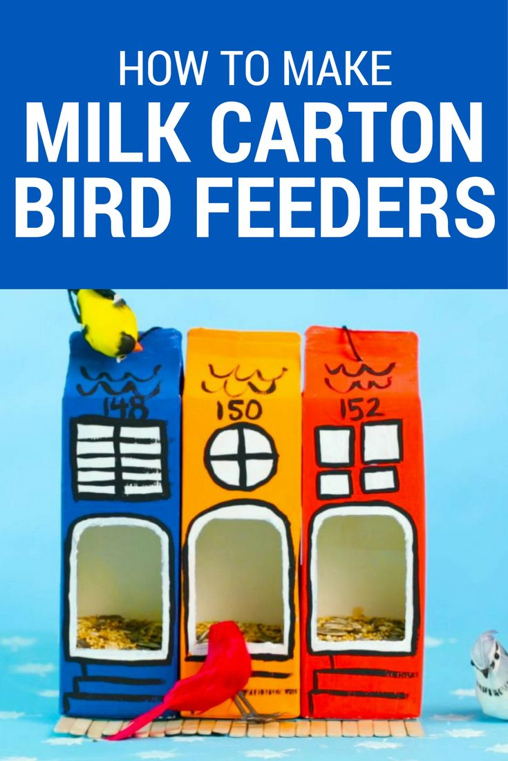 Perfect Canada Day craft! Your kids will love making these milk carton bird feeders, inspired by the colourful rowhouses in Newfoundland. #Canada150