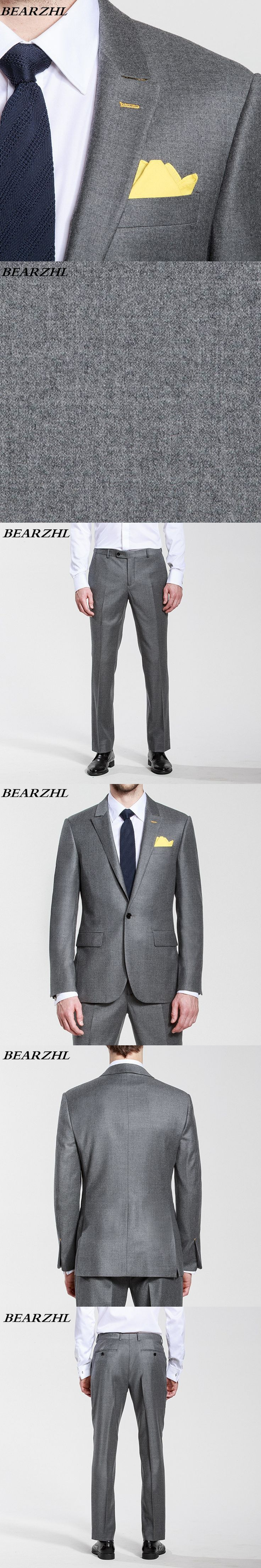 men suits charcoal gray custom made suit slim fit tuxedo for wedding one button suit high quality 2017