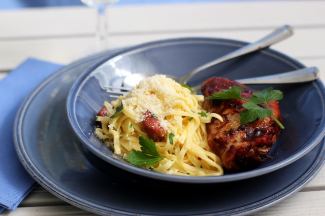 Oven Barbecued Chicken with Tagliatelle Carbonara