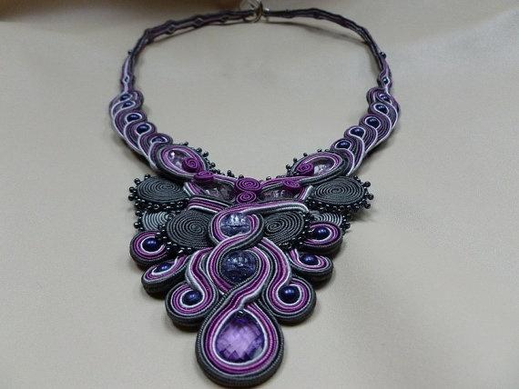 Royal Jewels  soutache necklace by JoannaArt77 on Etsy, $49.00