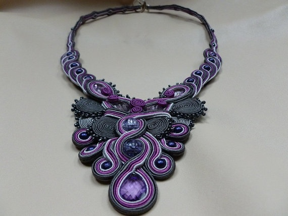 Royal Jewels  soutache necklace by JoannaArt77 on Etsy, $49.00