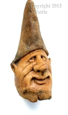 """""""It Might Be So""""   This little gnome noggin measures 3½ inches  tall and 1½ inches between his pointy ears.     Signed and dated:  N. Tuttle 10/15/13"""