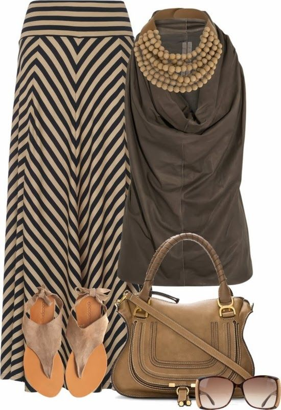 Maxi Skirt Outfit. Don't know why, but I like this. I'm thinking it would look good on an hourglass body