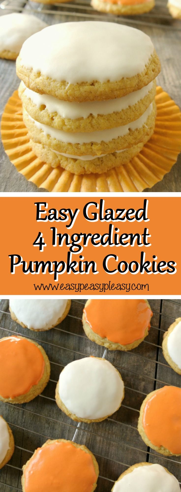 Make cookies from a box of cake mix and use store bought frosting to make a glaze with these easy glazed 4 Ingredient Pumpkin Cookies.