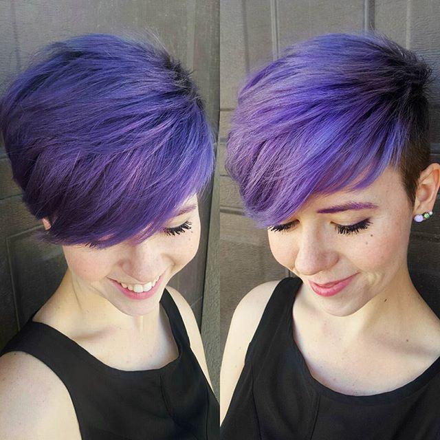 Purple pixie cut  Purple Lover, here! #pixiehair #pixienation #pixie…