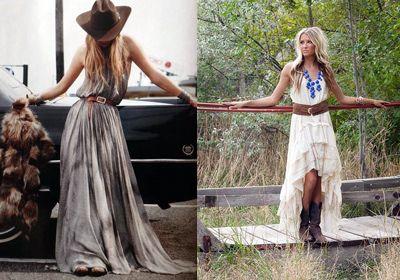 Ковбойские сапоги с платьем макси или с юбкой ассиметричного кроя