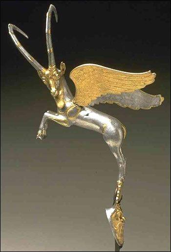 Achaemenid Vase Handle, carnelian, Silver and gold, 6th-5th Century BCE
