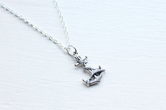 Rope Anchor Charm Necklace - Nautical Silver Pirate Sailor Anchor Charm Necklace Pendant