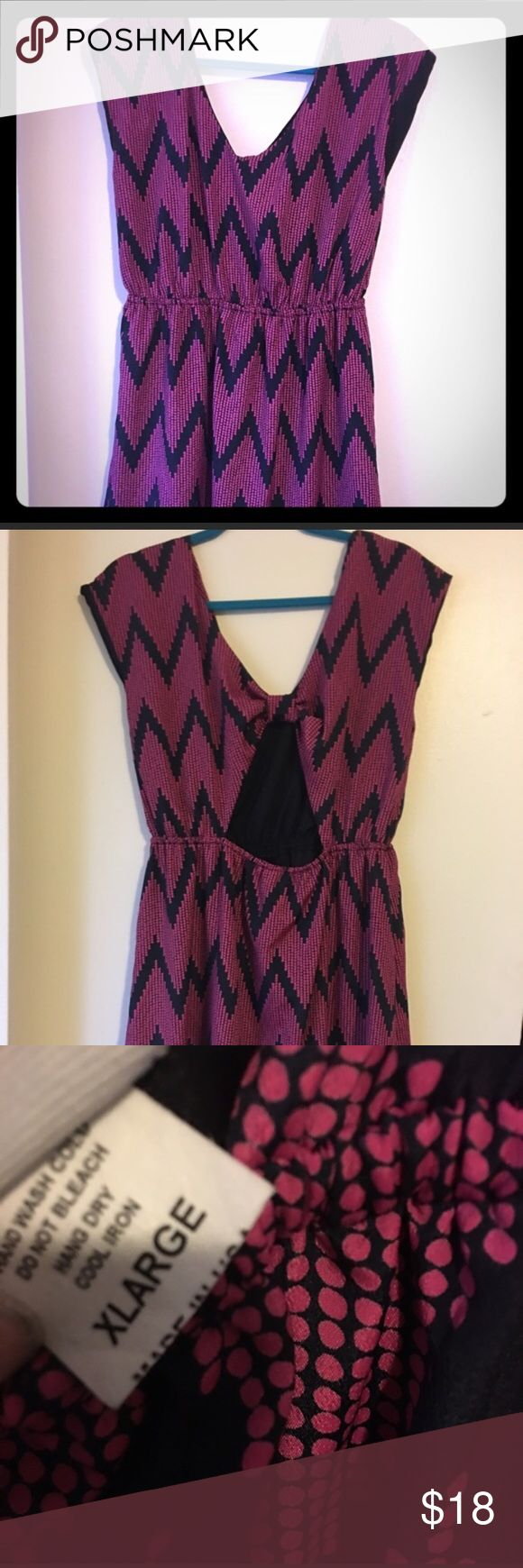 NWT- Adorable pink and navy chevron dress The chevron print on this dress is even cuter in person! This dress is brand new-never worn, with tags. It has a scoop neck, cap sleeves, and a cute cutout in the back. Best for size 14/16. Dresses Midi