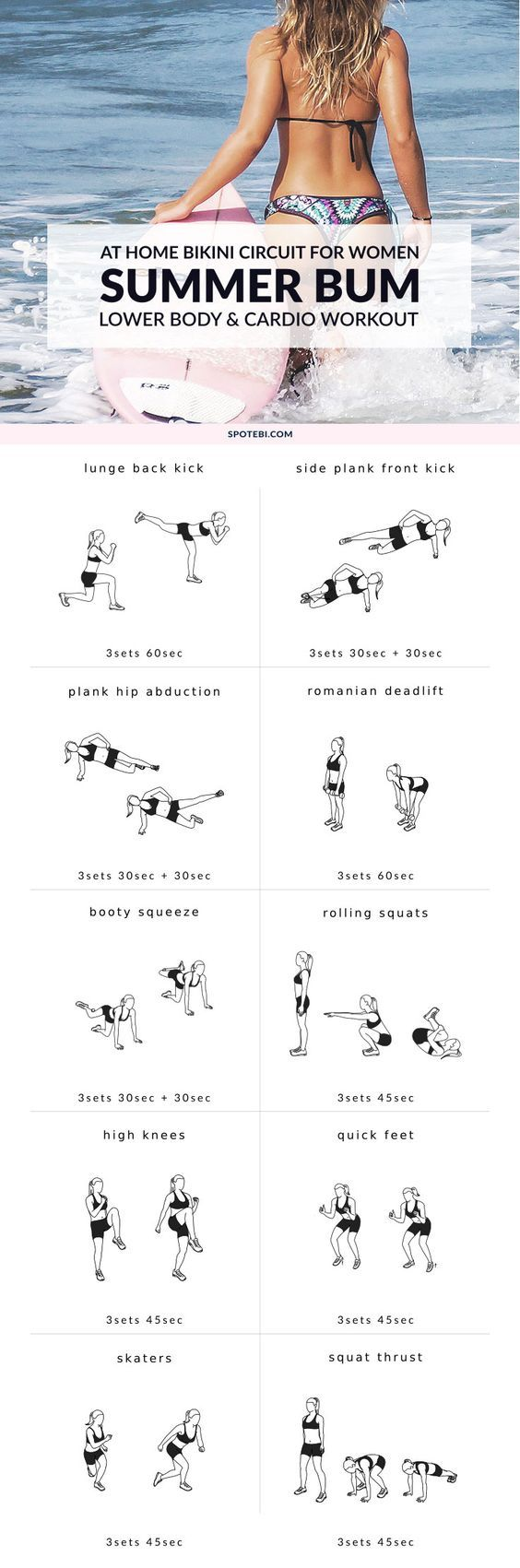 Tighten your core, tone your legs, and sculpt a sexy beach bum with our lower body and cardio workout. Grab a set of dumbbells, turn on the music and start the countdown to your best summer body! https://www.spotebi.com/workout-routines/lower-body-and-cardio-workout/