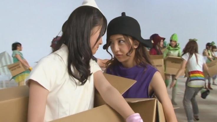 Sasshi and Tomochin in a stare off. It's daikon vs eggplant! #AKB48