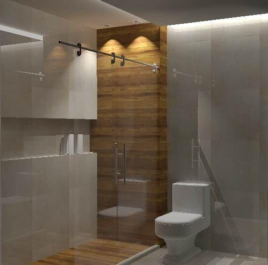 Box com detalhe em madeira  Decor  banheiros ( pequenos)  Small Bathroom  -> Cuba Para Banheiro De Madeira