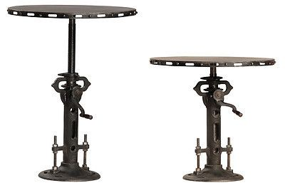 "World Bazaar Outlet - 30""W Crank Adjustable end table bar Iron Table gun metal finish industrial, $1,990.00 (http://www.worldbazaaroutlet.com/30w-crank-adjustable-end-table-bar-iron-table-gun-metal-finish-industrial/)"