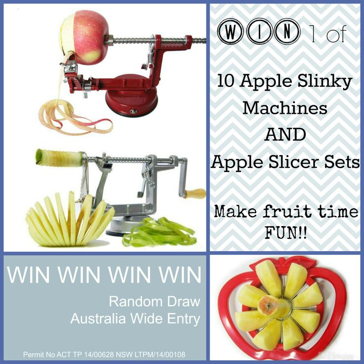 WIN 1 of 10 Apple Slinky Machines and Apple Slicer Sets! Australia Wide Entry.  Enter now at http://www.lovencherish.com/#!promotions/cig7