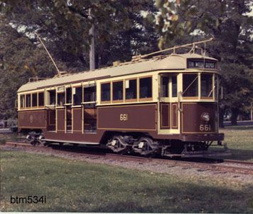 Tram No. 661. A former Melbourne W3 tram built in 1932. This tram was purchased by the Museum in 1975.