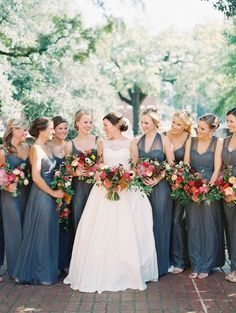slate blue bridesmaid dresses | Landon Jacob