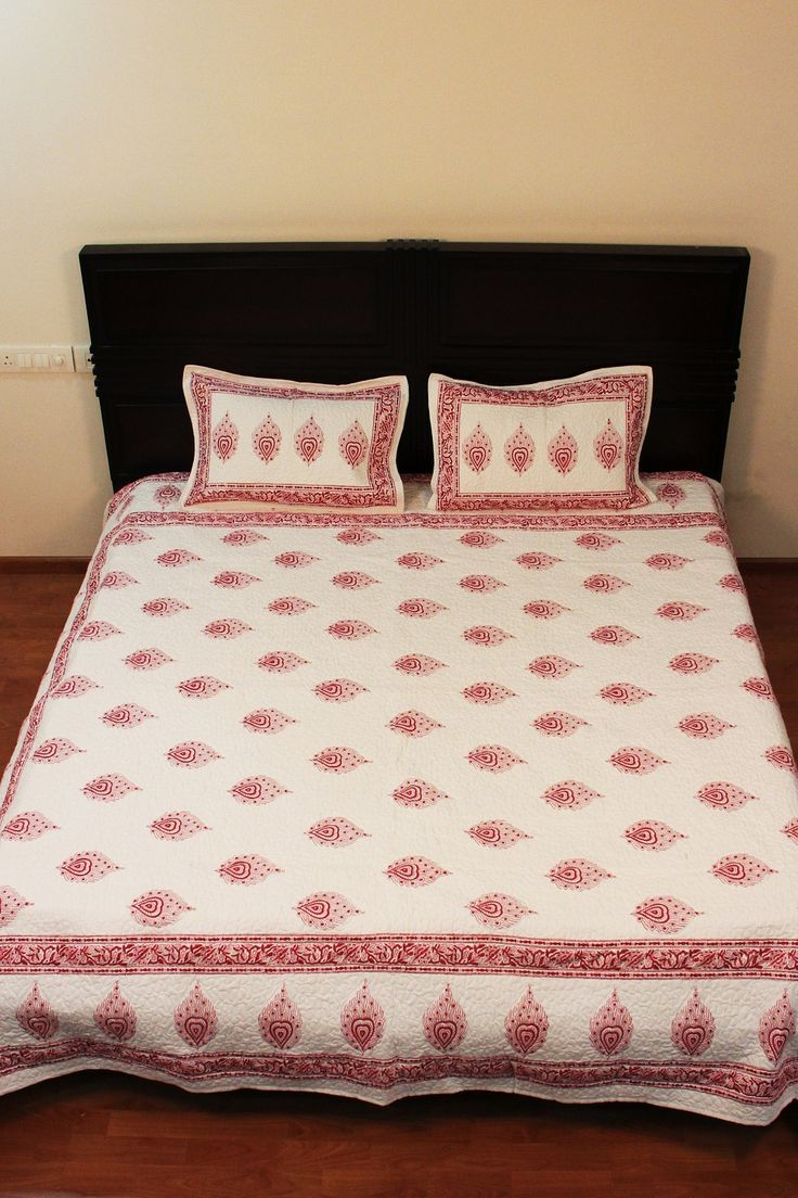 Super Soft White Cotton Printed Comforter Twin Size Quilt Bed Spread Home Decor