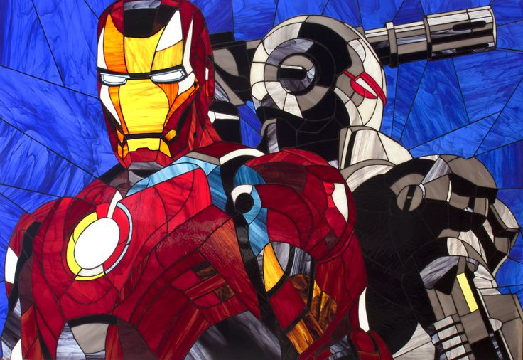 "Stained glass picture on wall ""Iron man and War machine"" #stainedglassgeek #stainedglass #stainedglassironman #marvel #superheroes #superhero #glassart #ironman #avengers #stainedglasspanel #stainedglasshero #artbrothers"