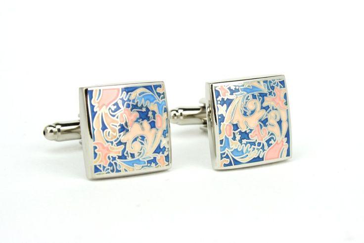 Art Nouveau pastel cuff links