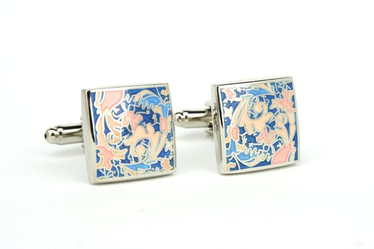 Art Nouveau pastel cuff links