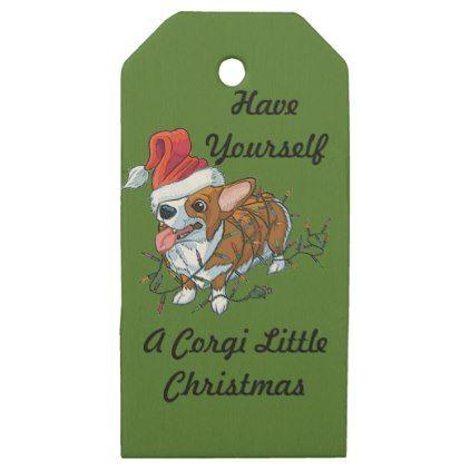#Pembroke Welsh Corgi Puppy Christmas Xmas Lights Wooden Gift Tags - #pembroke #welsh #corgi #puppy #dog #dogs #pet #pets #cute #pembrokewelshcorgi
