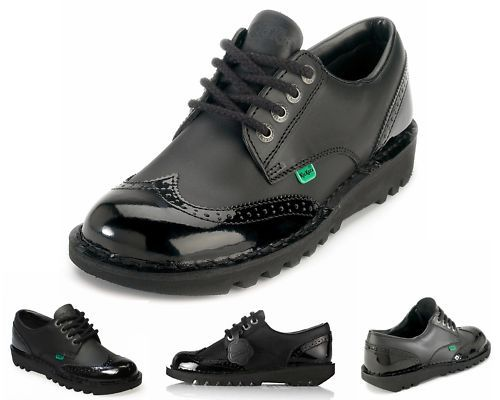 girls black leather shoes | Ladies Girls Kickers KICK LO BROGUE Black Leather School Work Shoes UK ...