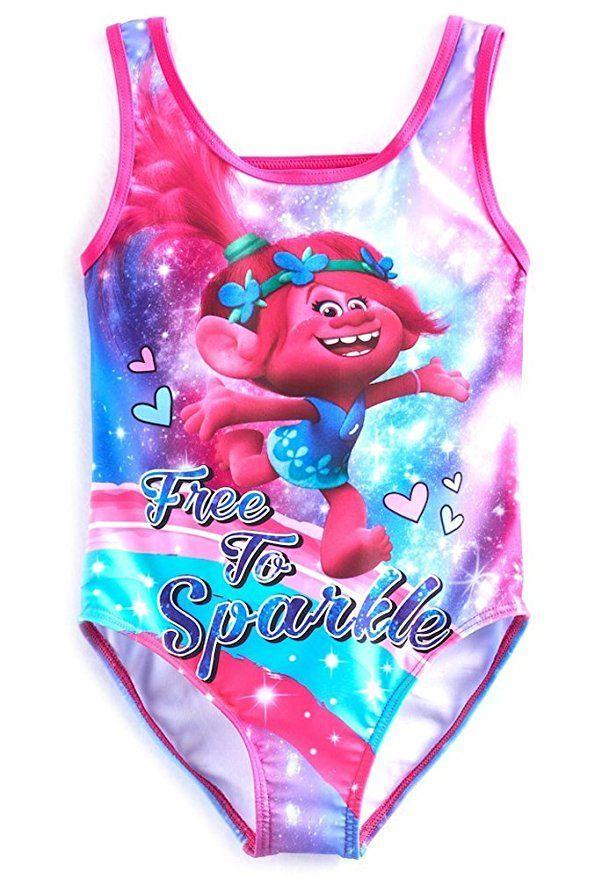 5633bf99aa1a6 Trolls Girls Swimwear Swimsuit Join the Dreamworks Trolls for a swim  wearing these darling Trolls swimsuits