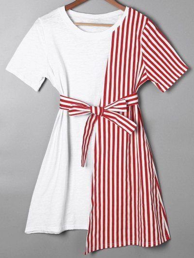 SHARE & Get it FREE | Striped Asymmetrical Mini Tee Dress - Red XlFor Fashion Lovers only:80,000+ Items • New Arrivals Daily Join Zaful: Get YOUR $50 NOW!