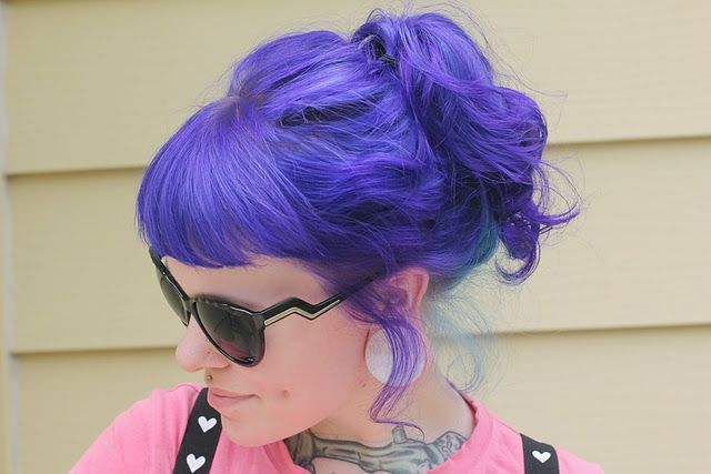 This was achieved with a mixture of Special Effects dye Virgin Rose, Wildflower and Pimpin Purple over faded blue hair.  Awesome!
