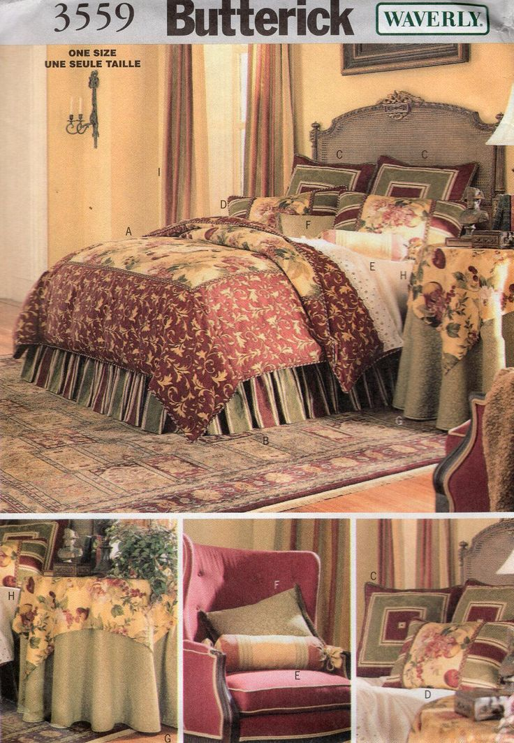 Free Us Ship Sewing Pattern 3559 Waverly Bedding Bed Bedroom Duvet Cover Pillows Tablecloth Dust Ruffle New Home Decoration Uncut by LanetzLiving on Etsy
