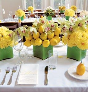 For a unique centerpiece, try mixing citrus fruits like lemons with a variety of flowers in Solar Power. Think along the lines of yellow daisies, buttercups, dandelions, and chrysanthemums.
