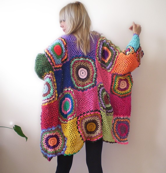 Women's Cardigan Sweater with Crochet Circles by subrosa123 - for sale on Etsy.