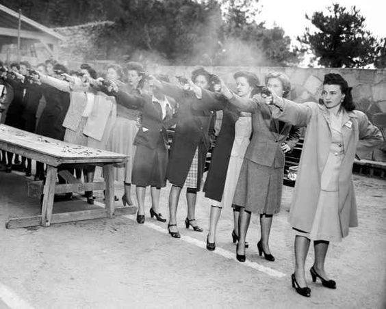 Female trainees of the Los Angeles Police Department get used to firing their newly issued revolvers. Taken in 1948.