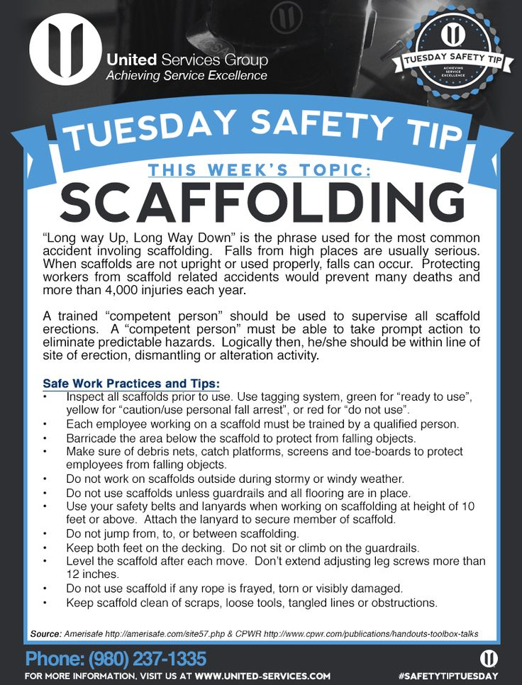 This week's Tuesday Safety Tip is about Scaffolding safety.  United Services Group is dedicated to making safety information available to our employees and customers to further emphasize our safety culture. The credit for this week's safety information was provided by Amerisafe and The Center for Construction Research and Training.  #safety #safetytips #osha #tuesdaysafetytip