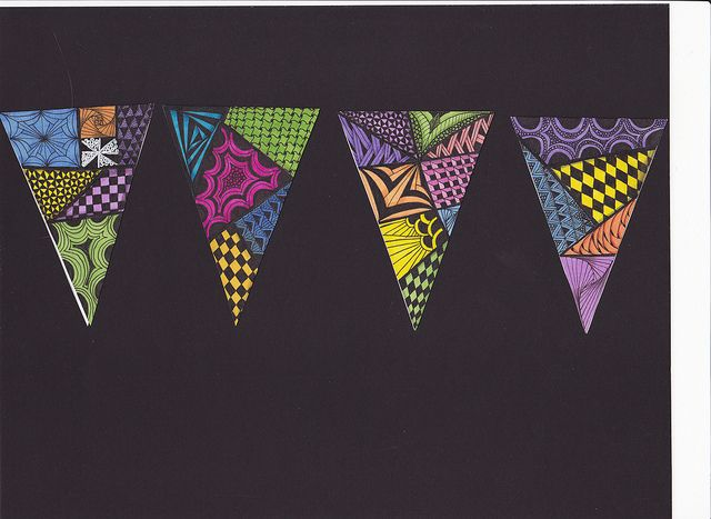 banners - beginning of school project, decorate the art room. Pattern, color, shape