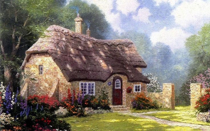 томас кинкейд, thomas kinkade, painting, summer, Cottage in the forest, cottage