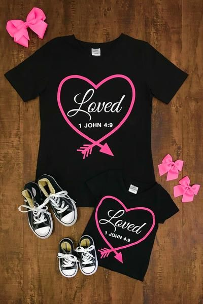 "Mom & Me - Pink Heart ""Loved 1 John 4:9"" Shirts"