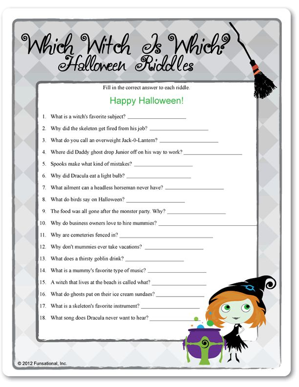 Printable Which Witch Is Which? Halloween Riddles