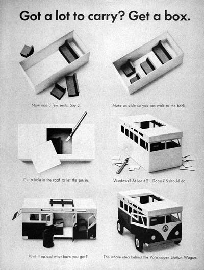 "1964 VW Volkswagen Station Wagon Bus original vintage ad. ""Got a lot to carry? Get a box."""