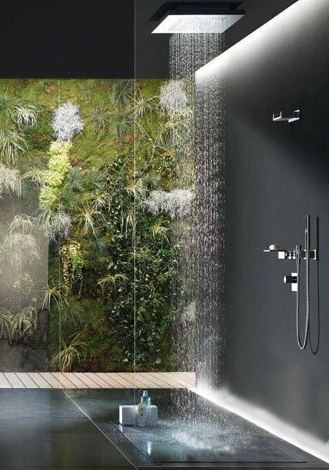 Looking to the green through the shower