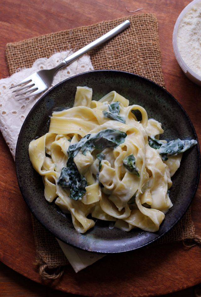 Pappardelle with Kale and Creamy Parmesan Garlic Sauce   Joanne Eats Well With Others